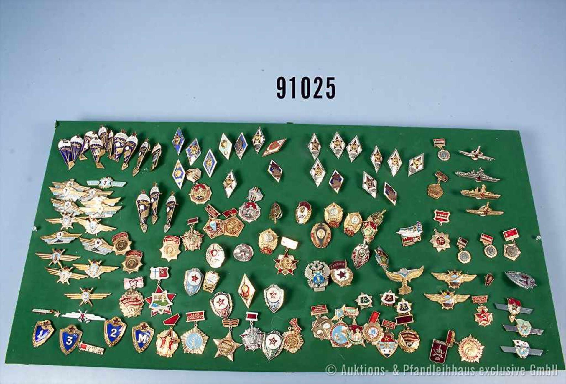 Konv. UdSSR, ca. 225 Solventenabzeichen militärischer Lehranstalten, Fallschirmspringer-Abzeichen, - Bild 2 aus 2