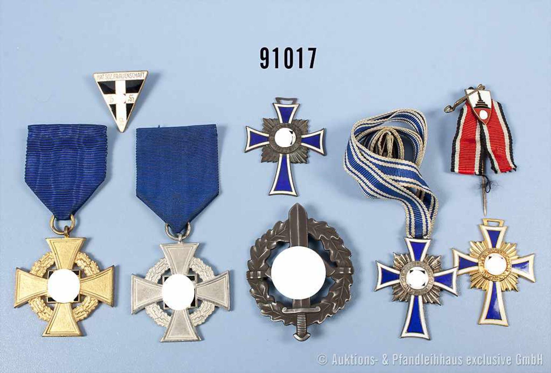 Konv. Mutterkreuz in Bronze, Silber und Gold, Treuedienst-Ehrenzeichen für 25 und 40 Jahre, SA-