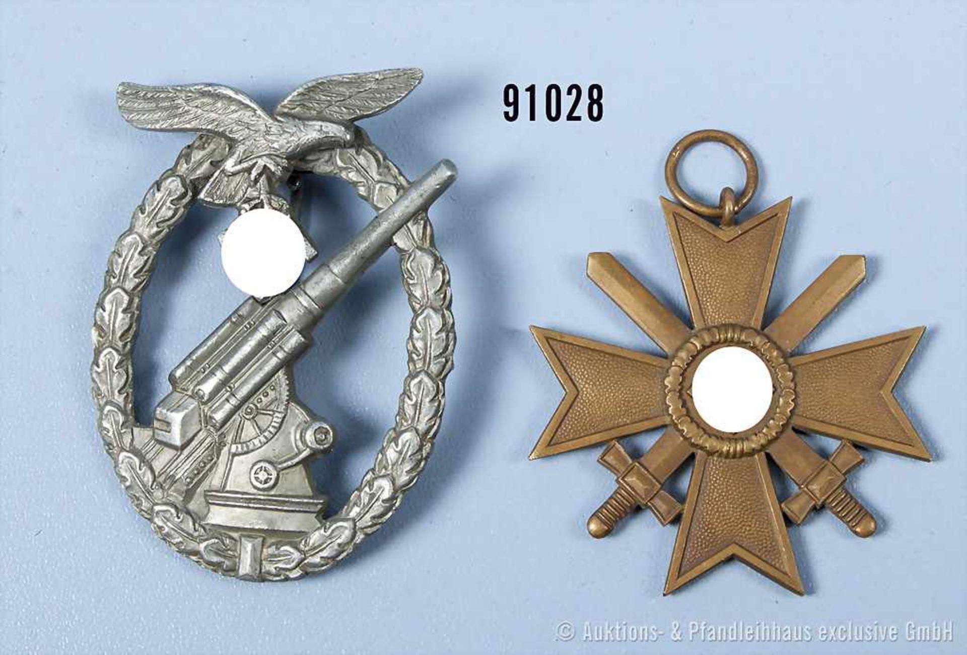 Konv. Flakkampfabzeichen der Luftwaffe, Zinkausf., Nadelhaken fehlt und KVK 2. Klasse mit
