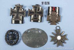 Konv. 2 EK 2 1914, durchbrochenes VWA in Schwarz, EKF, KVK 2. Klasse mit Schwertern sowie