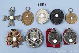 Konv. VWA in Schwarz und Silber, 2 Ostmedaillen, KVK 2. Klasse mit und ohne Schwerter, KVK-Medaille,