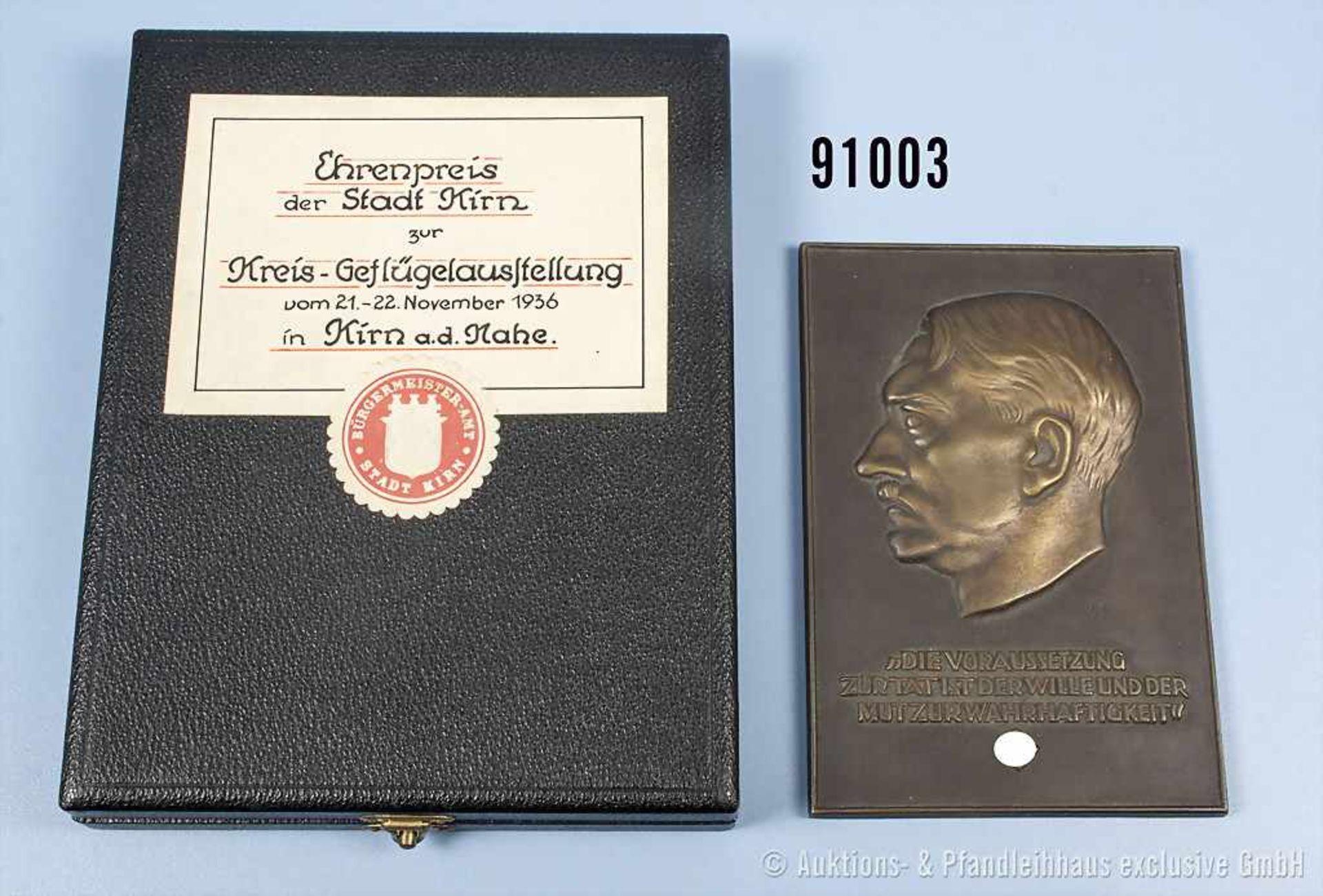 """Bronzene Plakette Hitler-Relief, Aufschrift """"Die Voraussetzung zur Tat ist der Wille und der Mut zur"""
