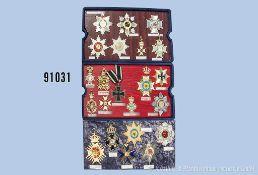 Konv. 22 kaiserliche Ordenskopien auf 3 Präsentationsplatten, u.a. Großkreuz des Eisernenen