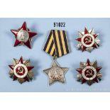 Konv. 5 Orden UdSSR, 3 Orden des Vaterländischen Krieges, Orden des Roten Sterns sowie Ruhmesorden