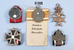 Konv. EK 2 1939, Ostmedaille, Schutzwall-Ehrenzeichen mit Verleihungstüte, Bayern MVK 3. Klasse