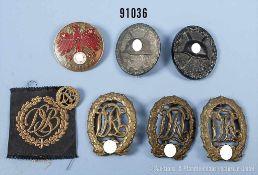 Konv. VWA in Schwarz und Silber, 3 Sportabzeichen in Bronze, Jugendsportabzeichen (BRD) sowie