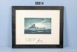 originale Lithographie des Panzerschiffs Admiral Scheer, Geschenk an Otto Schiewind zu seinem