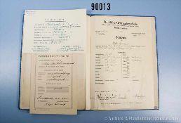 Zeugnismappe (1938-1947) der Tochter Ursula Schniewind mit den Schulzeugnissen überwiegend aus der