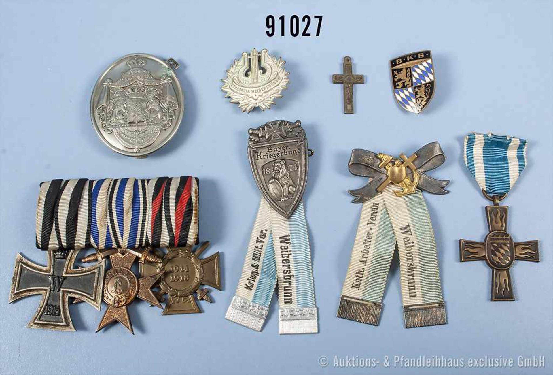 Konv. überwiegend Bayern, u.a. 3er Ordenspange, EK 2 1914, MVK 3. Klasse mit Schwertern und EKF,