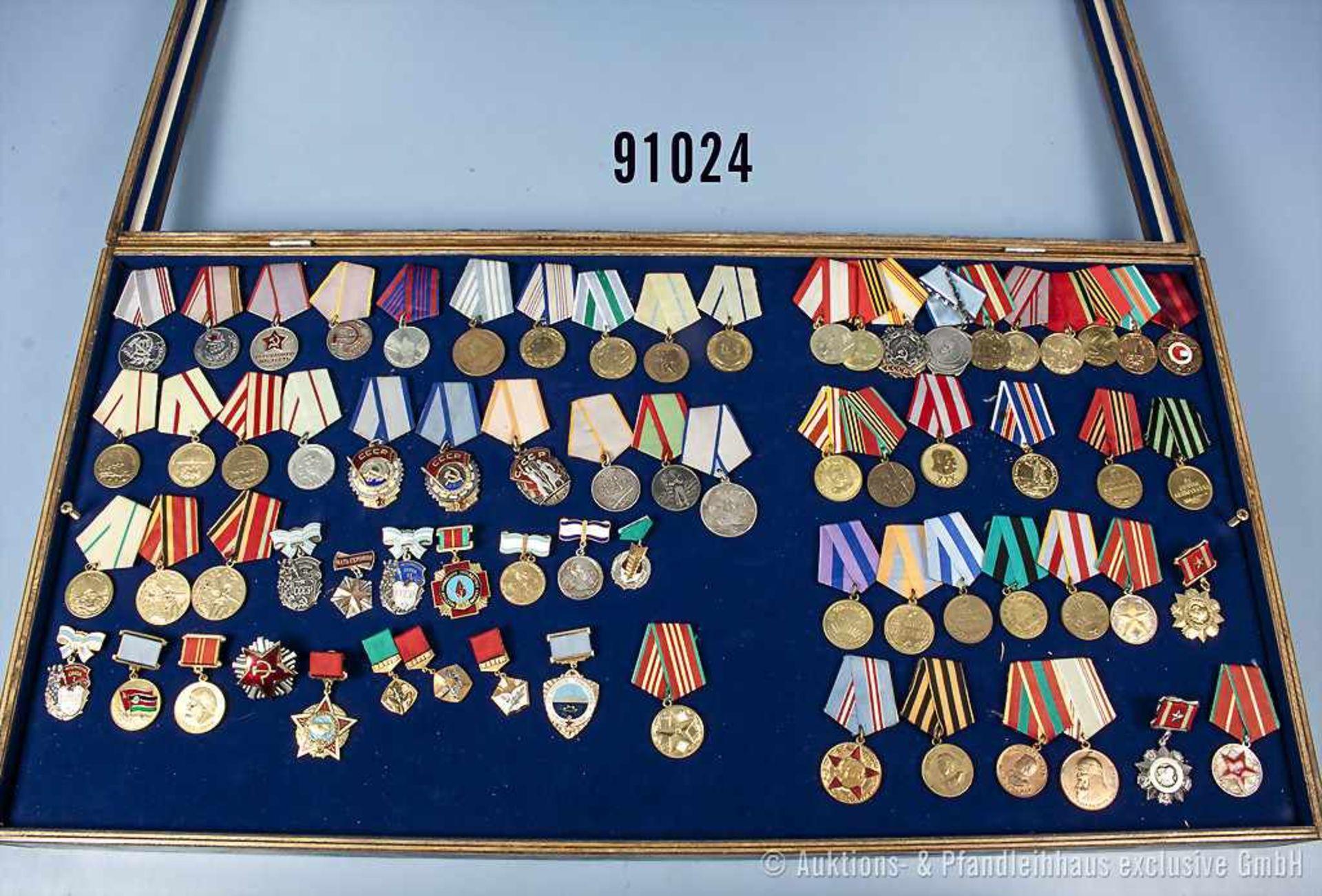 Konv. 69 Orden UdSSR, u.a. Verteidigungsmedaillen (Odessa, Leningrad, Moskau, Sewastopol, Stalingrad