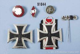 Konv. 1957er Auszeichnungen, EK 2, EK 1 und 4er Miniaturnadel sowie 3 Mitgliedsabzeichen 3. Reich,