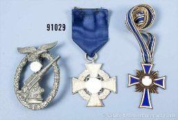 Konv. Flakkampfabzeichen der Luftwaffe, Zinkausf., HK etwas befeilt, Treuedienst-Ehrenzeichen für 25