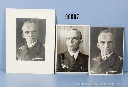 Konv. großformatige Porträtaufnahmen von Admiral Otto Schniewind in Uniform der Kriegsmarine von