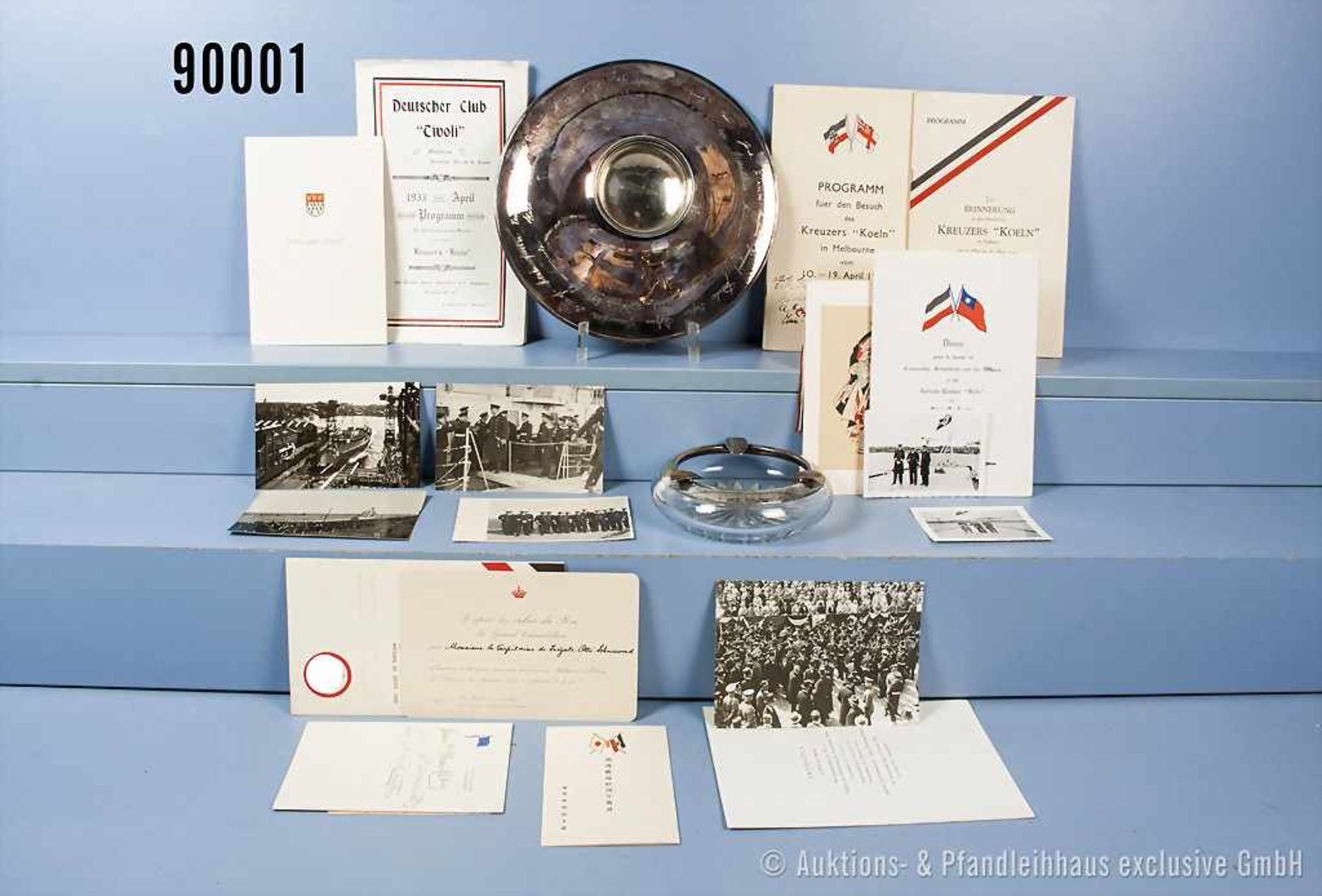 "Konv. Silberne Geschenk-Schale der Offiziere des Kreuzers ""Köln"" an den damaligen Kapitän zur See"