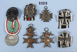 Konv. 2 EK 2 1914, 2 EKF, VWA in Schwarz, Bayern 2 MVK 3. Klasse mit Schwertern (1 x mit der