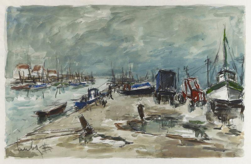 Lot 11 - Fernand HERBO (1905- 1995) - Barques de pêcheurs - Aquarelle signée en bas à [...]