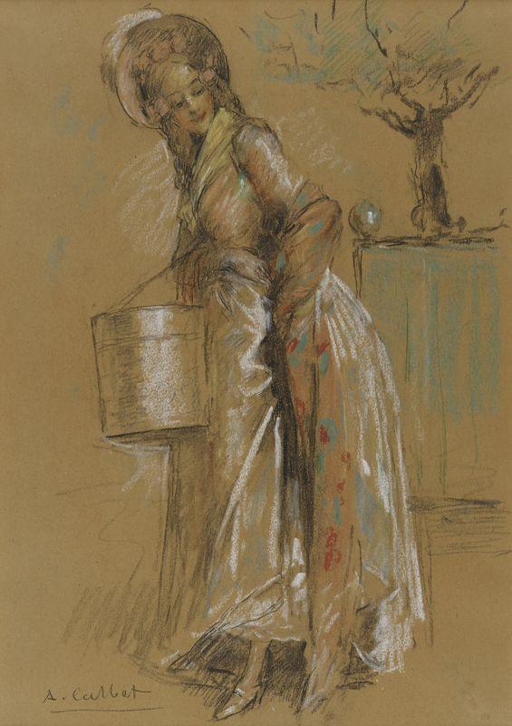 Lot 17 - Antoine CALBET (1860-1944) - Jeune élégante - Pastel et crayon signé en bas à [...]