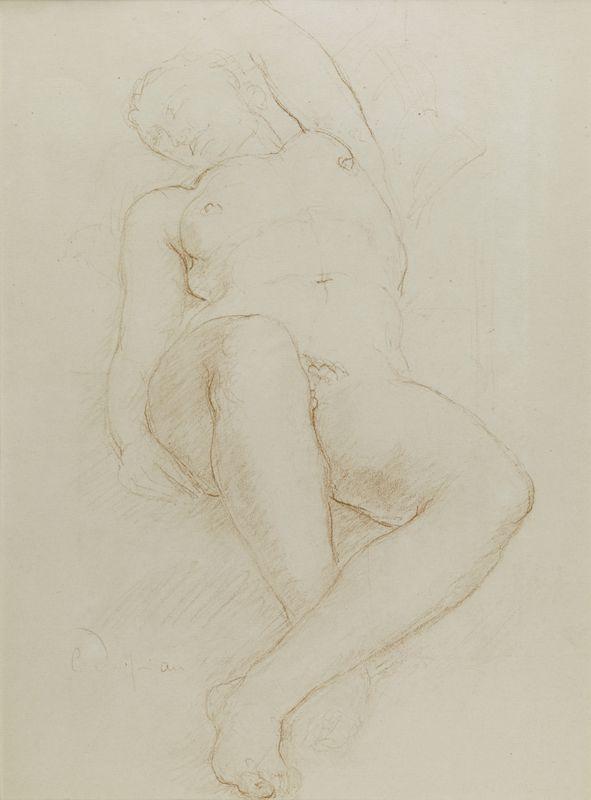 Lot 18 - Charles DESPIAU (1874-1946) - Femme allongée bras droit relevé - Dessin à la [...]