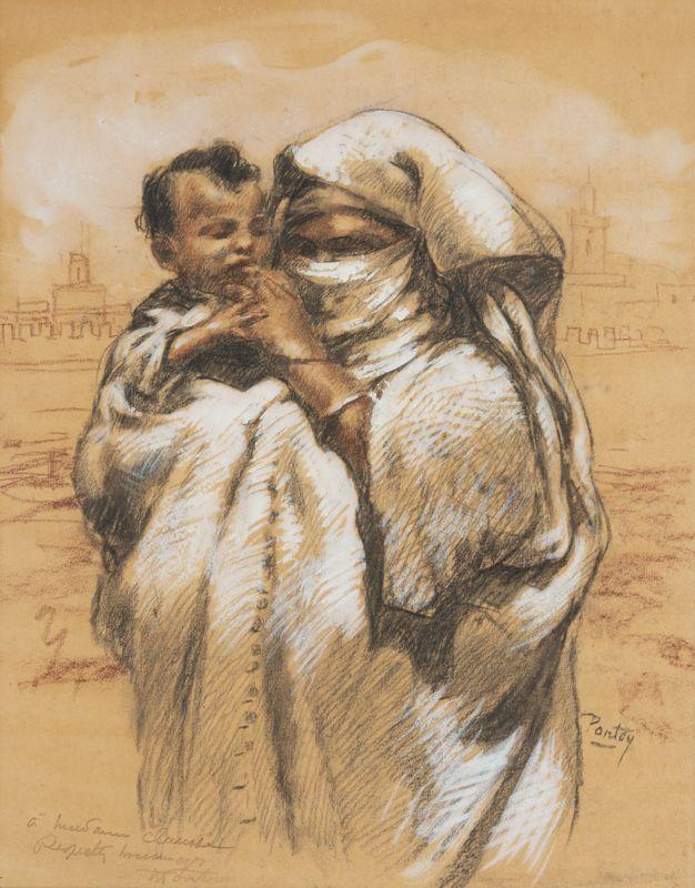 Lot 19 - Henri PONTOY (1888-1968) - Femme et enfant - Dessin au crayon et rehauts de gouache [...]