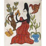 Lot 61 - BAYA (1931-1998) - Jeune femme au bouquet de fleurs - Gouache sur papier signée en [...]