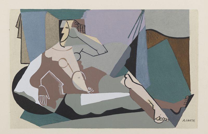Lot 49 - André LHOTE (1885-1962) - Personnage cubisant - Pochoir et rehauts de gouache signé [...]