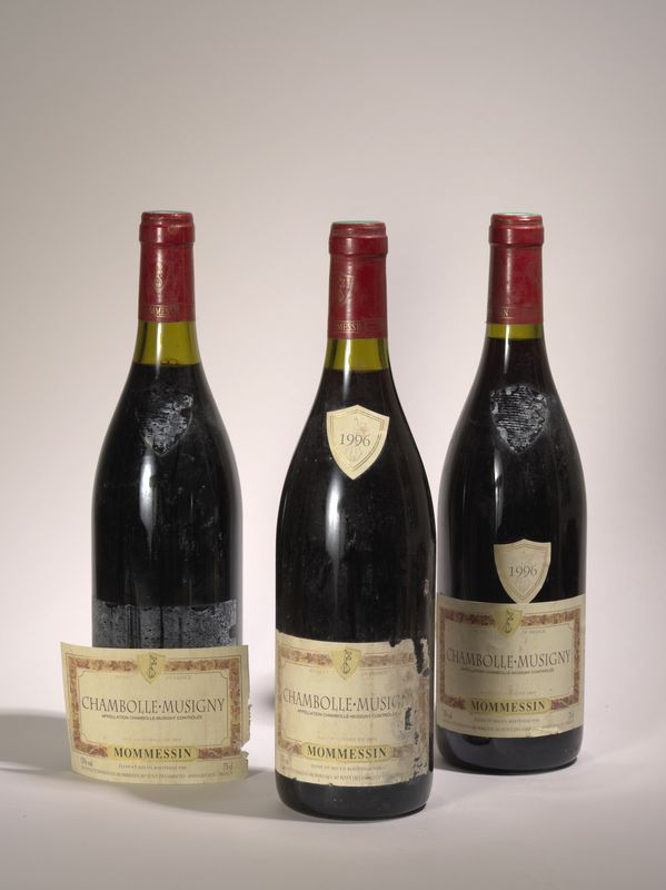 Lot 69 - 3 bouteilles Chambolle Musigny 1996, Mommesin - - 3 bottles Chambolle Musigny 1996, [...]