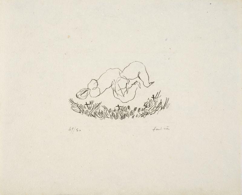 Lot 11 - Jean FAUTRIER (1898-1964) - Petit Nu G - Eau forte sur Verger d'Auvergne justifiée [...]