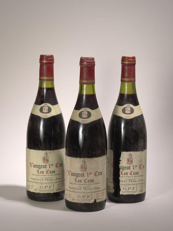 Lot 72 - 3 bouteilles - Vougeot 1er cru 1988, Les Cras, Grivelet Père et Fils - - 3 bottles [...]