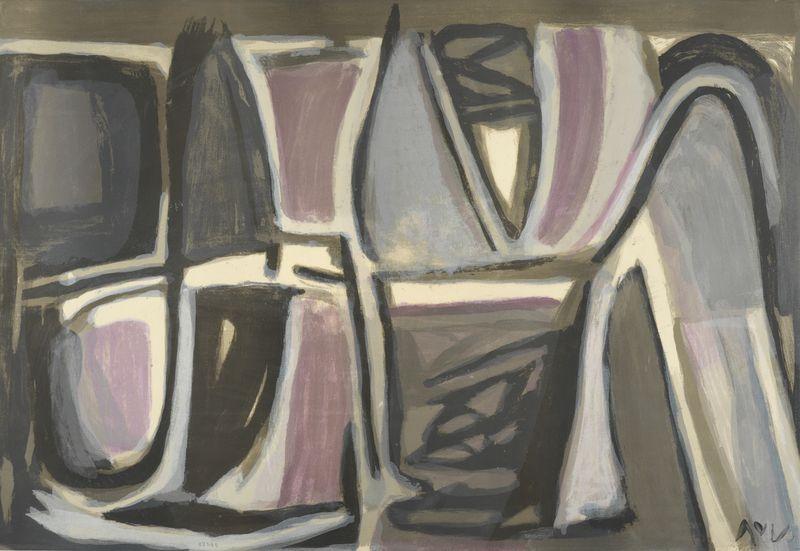Lot 14 - Bram VAN VELDE (1895- 1981) - Composition - Lithographie signée au crayon et [...]