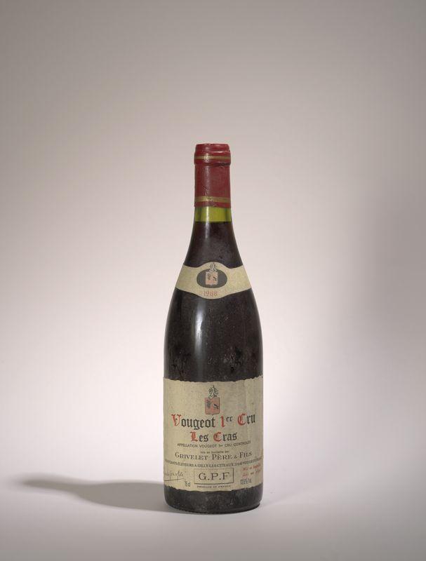 Lot 67 - 1 bouteille Vougeot 1 er Cru Les Cras, Grivelet Père et Fils, 1988 - - 1 bottle [...]