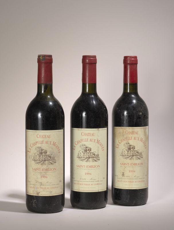 Lot 57 - 3 bouteilles Château La Chapelle aux Moines 1994, Saint Emilion - - 3 bottles [...]