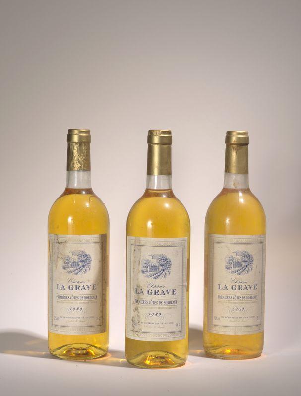 Lot 55 - 3 bouteilles Château La Grave 1989 Blanc, premières côtes de Bordeaux - - 3 [...]