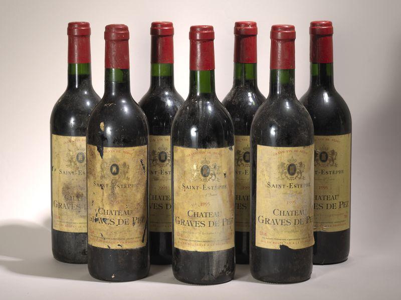 Lot 62 - 7 bouteilles Graves de Pez 1995, Saint Estephe - - 7 bottles Graves de Pez 1995, [...]