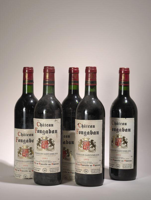 Lot 54 - 5 bouteilles Château Fonbagan 1993, Puisseguin Saint Emilion - 2 étiquettes [...]