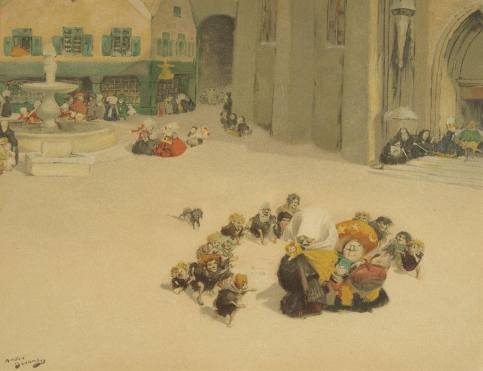 Los 58 - André DEVAMBEZ (1867-1943) - Le Noël des Lutins - Aquarelle signée en bas à [...]