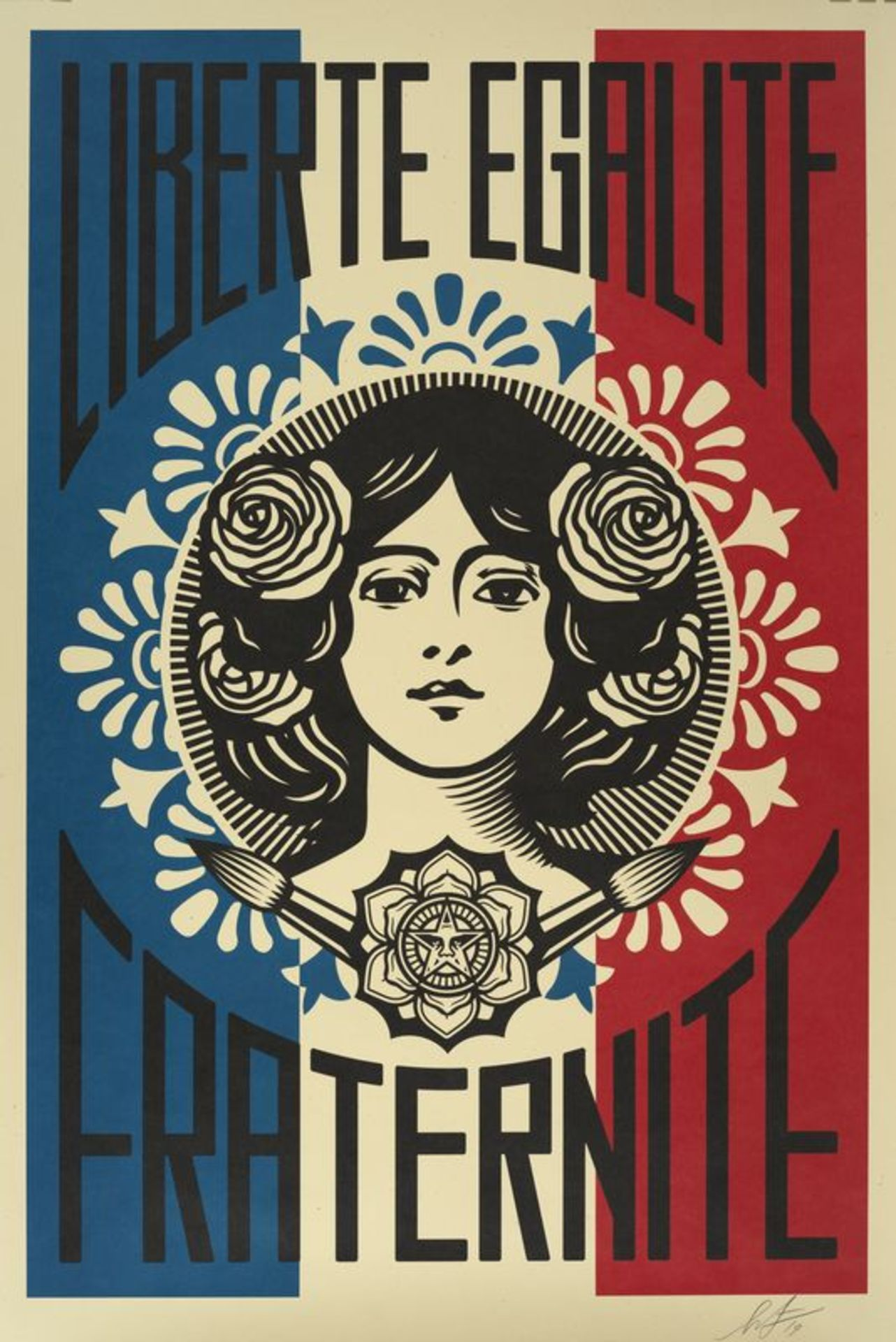 OBEY (1970) Liberté Egalité Fraternité - Affiche sérigraphique signée au [...]