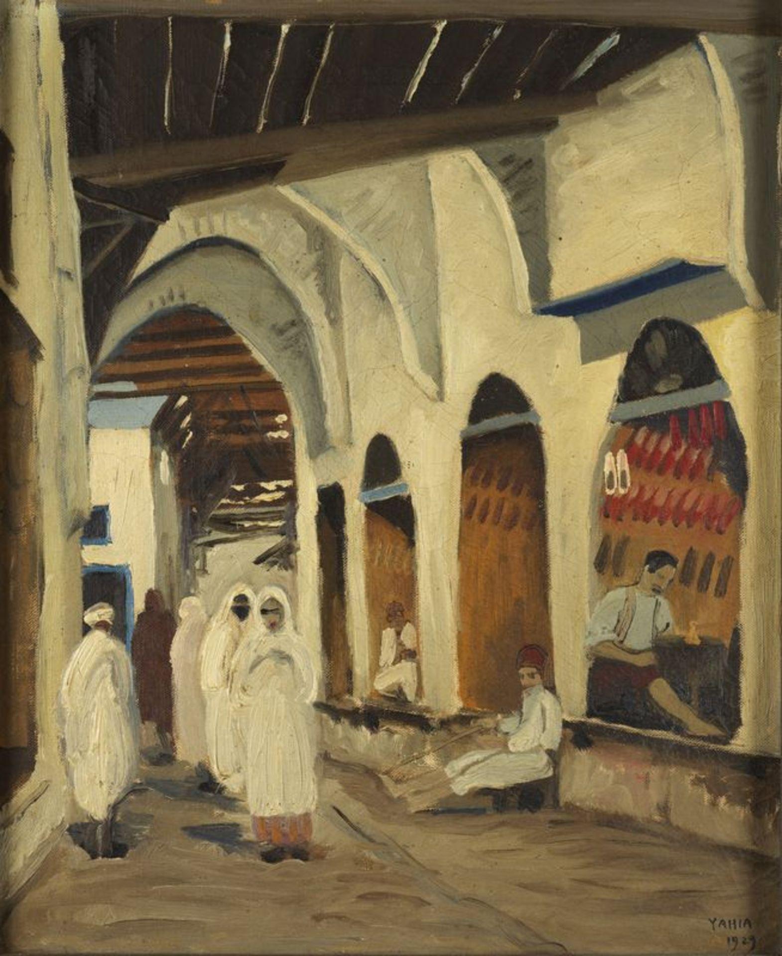 Los 57 - Yahia TURKI (1902-1969) - Scène populaire - Huile sur toile signée en bas à droite [...]