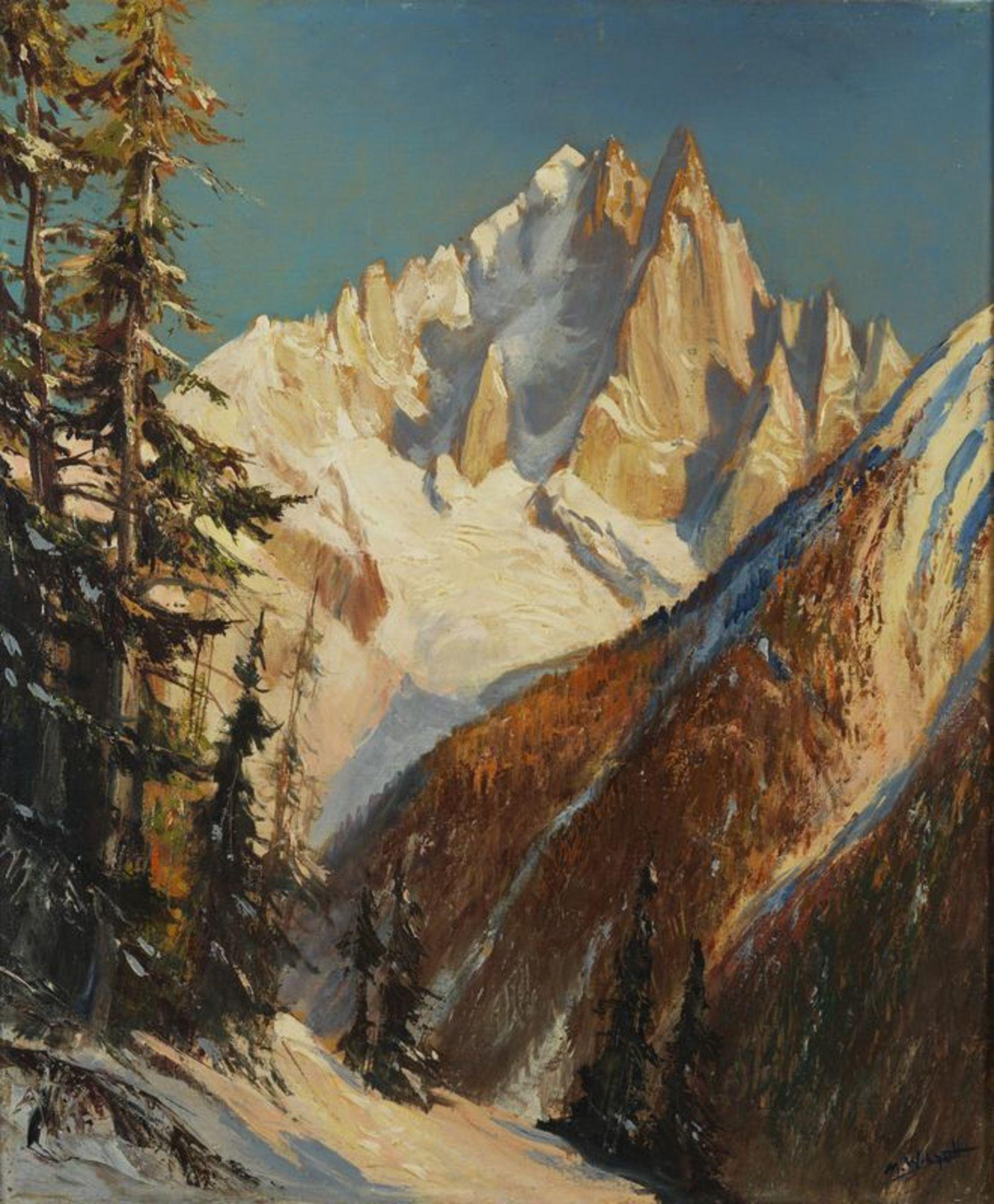 Los 60 - Marcel WIBAULT (1905-1988) - Paysage de neige - huile sur toile signée en bas à [...]