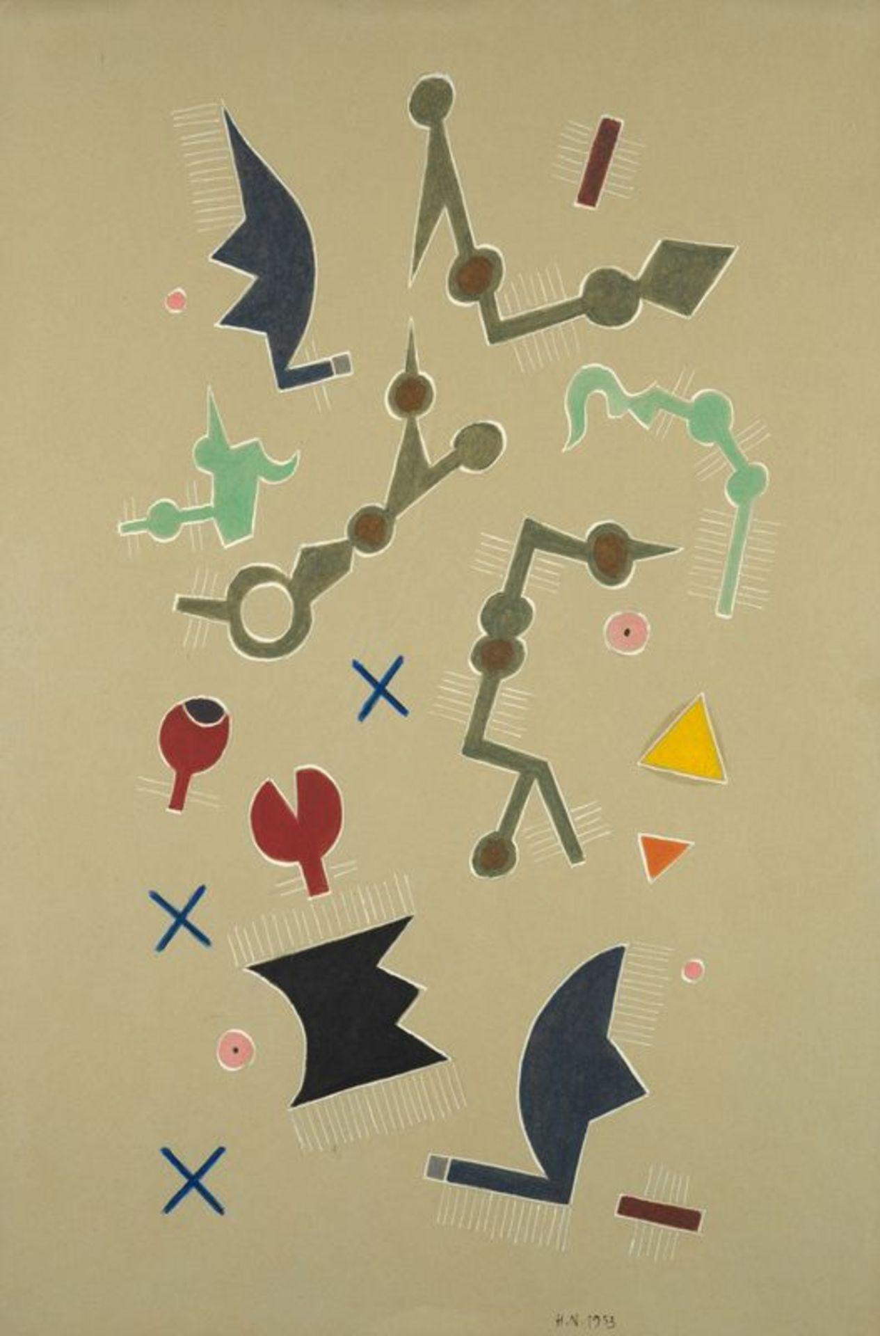 Henri NOUVEAU (1901-1959)- Improvisation - Huile sur papier monogrammée et datée [...]