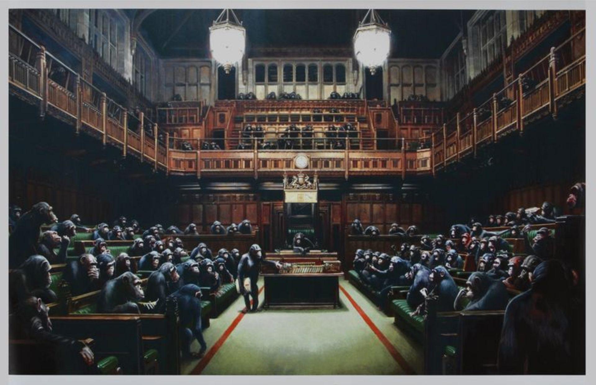 BANKSY (d'après) (1974) - Monkey parliament - 2009 - Impression offset en couleurs [...]