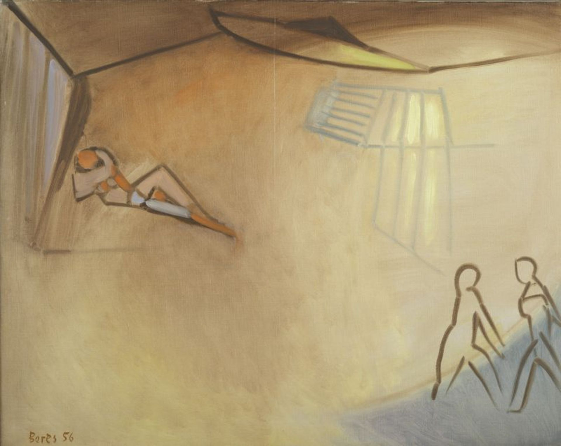 Los 53 - Francisco BORES (1898-1972 ) - Trois personnages - Huile sur toile signée et datée [...]