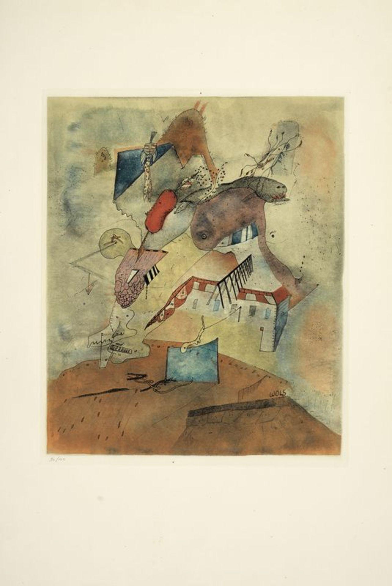 Los 13 - Otto WOLS (1913 - 1951) - Le Camp les Milles, 1940 - Gravure en couleurs sur papier [...]
