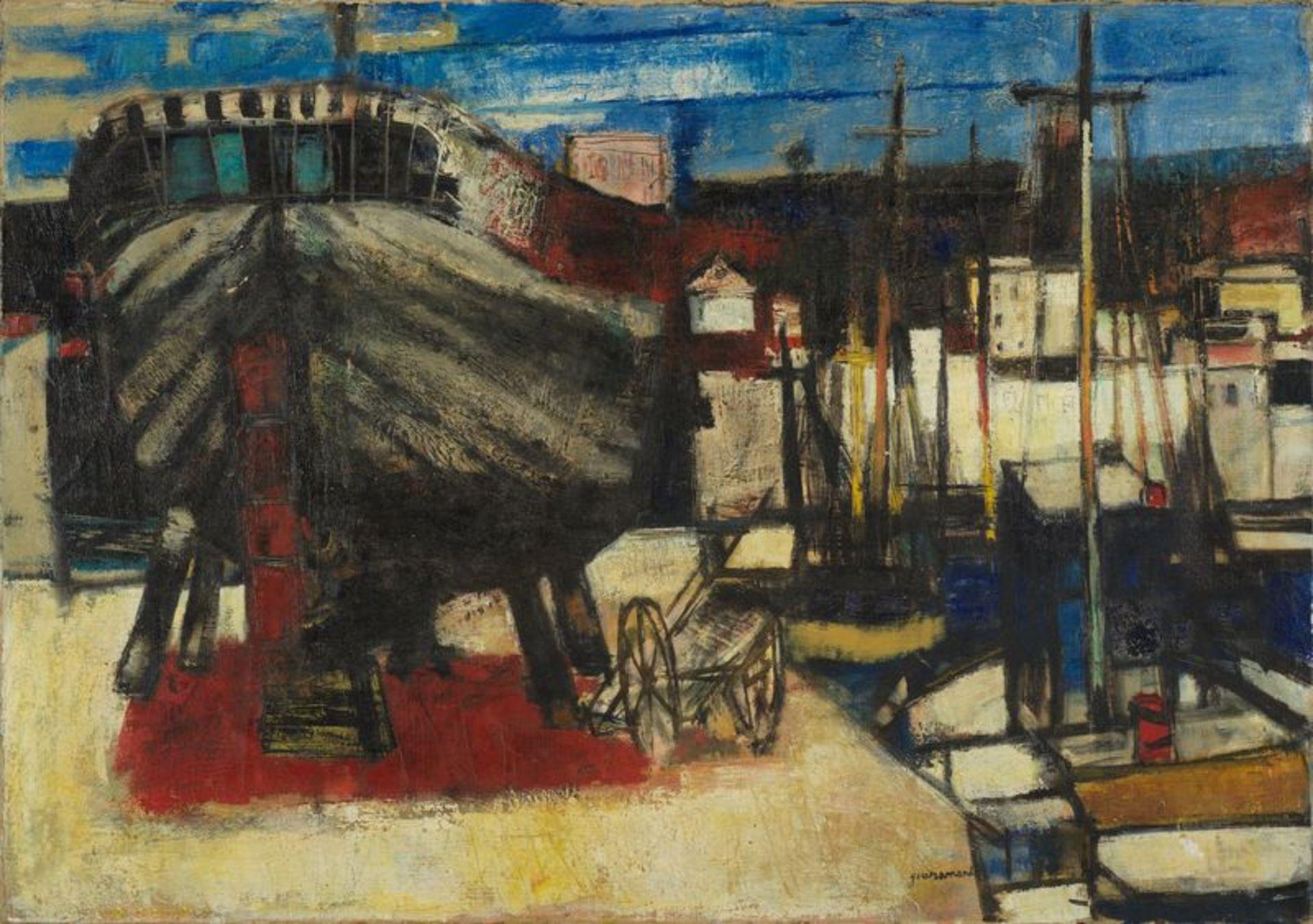 Los 55 - Paul GUIRAMAND (1926-2007) - Bateaux à quai - Huile sur toile sginée en bas à [...]