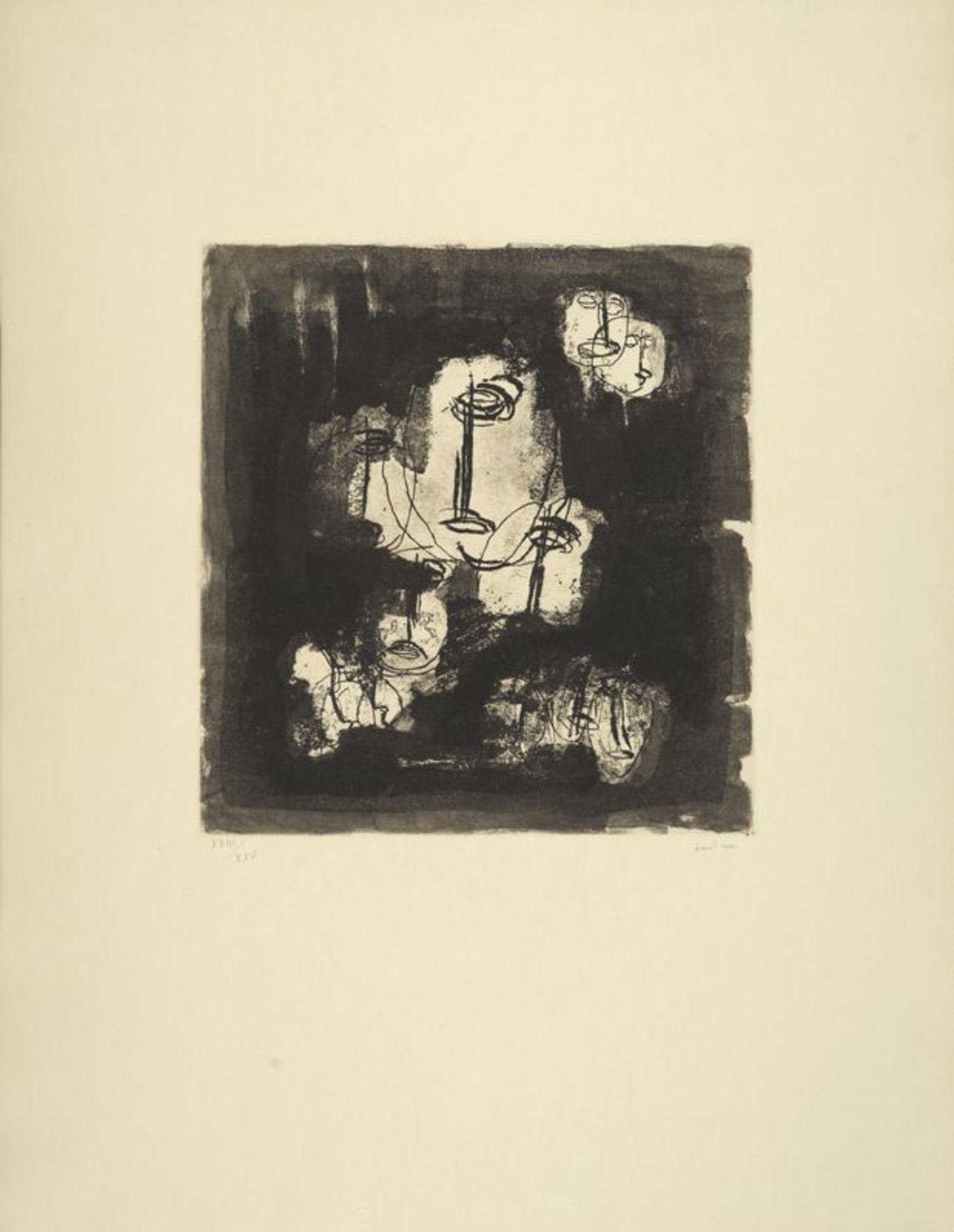 """Los 18 - Jean FAUTRIER (1898-1964) - Otages fond noir, d'après """"Fautrier, l'enragé"""" - Eau [...]"""