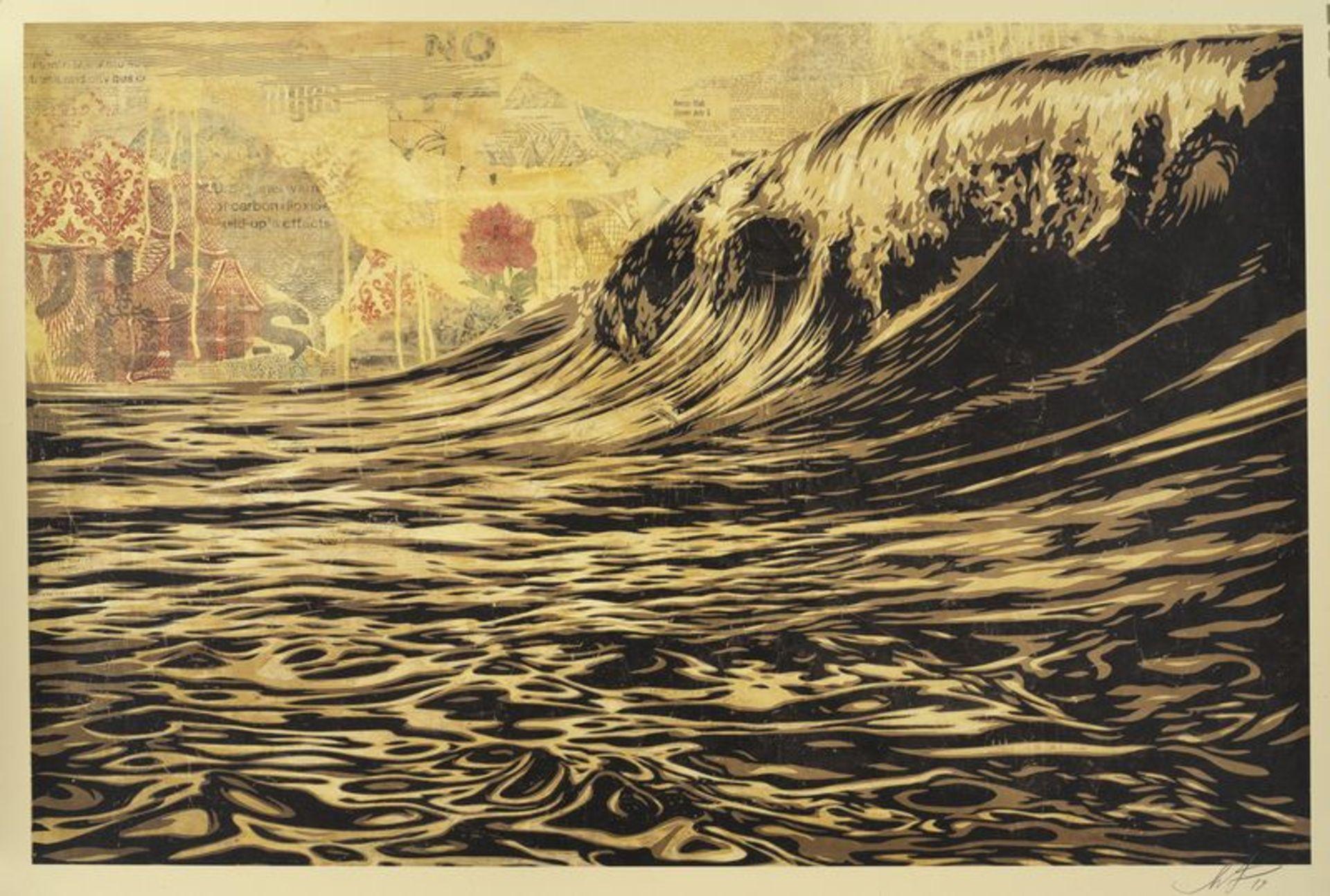 Los 1 - OBEY (1970) - Dark wave- lithographie signée en bas à droite et datée (19)19 - [...]