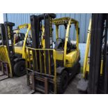 Lot 80 - Hyster model h50f1 5000# l/p powered fork lift truck s/n L177b10186D, 6296 hours, side shifter