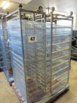 Lot 47 - 3 x S/s Rack:-2 x S/s Racks capable of taking 10 trays.Approx.430 x 650 x 1800mm high. LO£20