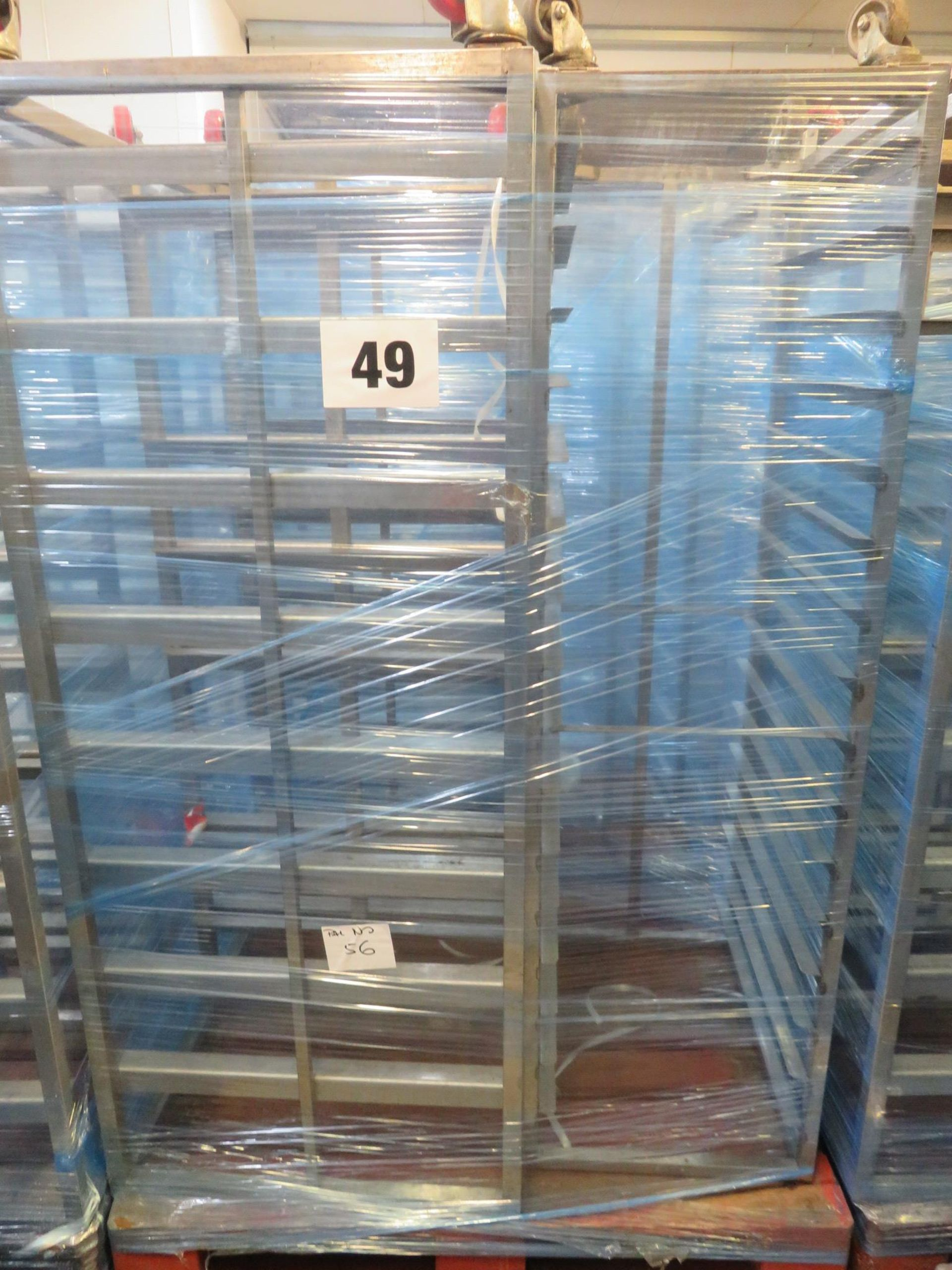 Lot 49 - 3 x S/s Rack: -2 x S/s Racks capable of taking 10 trays.Approx.430 x 650 x 1800mm high. LO£20