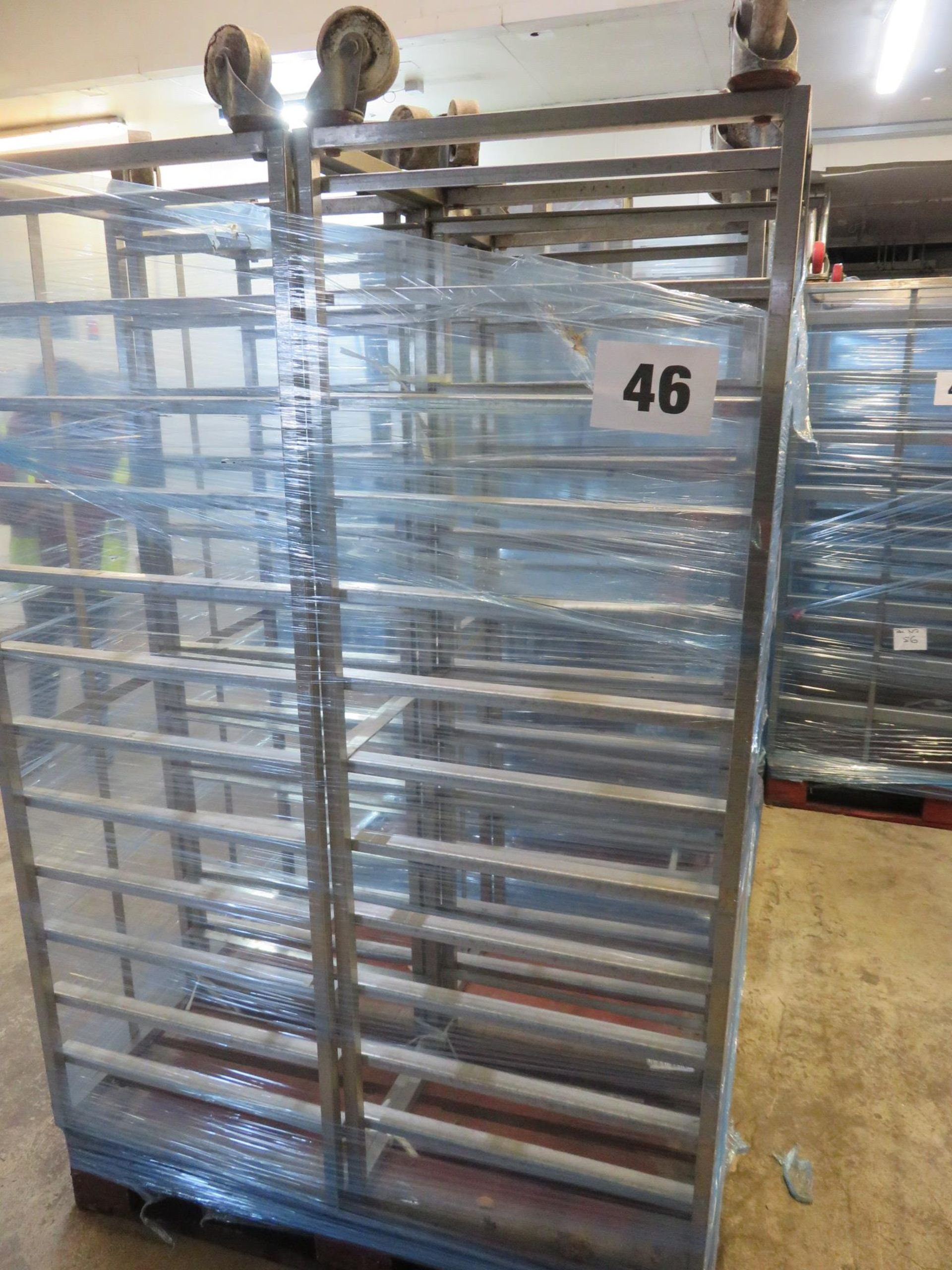 Lot 46 - 4 x S/s Racks capable of taking 12 trays. Approx. 430 x 650 x 1800mm high. On Wheels.LO£20