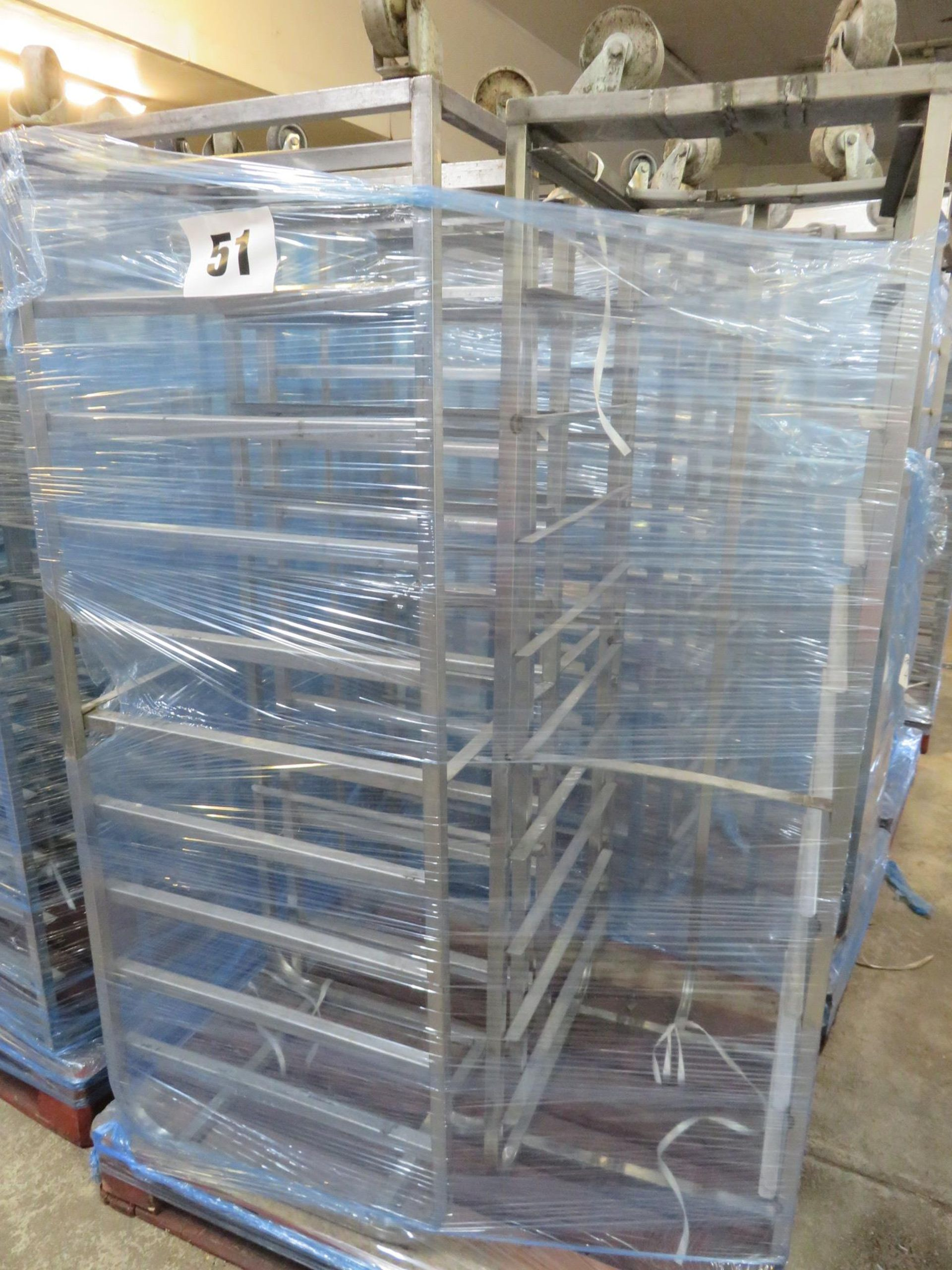 Lot 51 - 3 x S/s Racks:- 2x S/s Racks capable of taking 10 trays.Approx. 430 x 650 x 1800mm high.LO£20